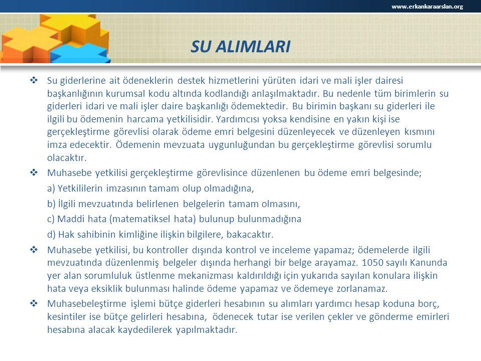 SU ALIMLARI  Su giderlerine ait ödeneklerin destek hizmetlerini yürüten idari ve mali işler dairesi başkanlığının kurumsal kodu altında kodlandığı anlaşılmaktadır.
