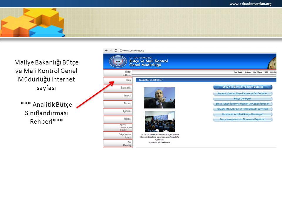 www.erkankaraarslan.org Maliye Bakanlığı Bütçe ve Mali Kontrol Genel Müdürlüğü internet sayfası *** Analitik Bütçe Sınıflandırması Rehberi***