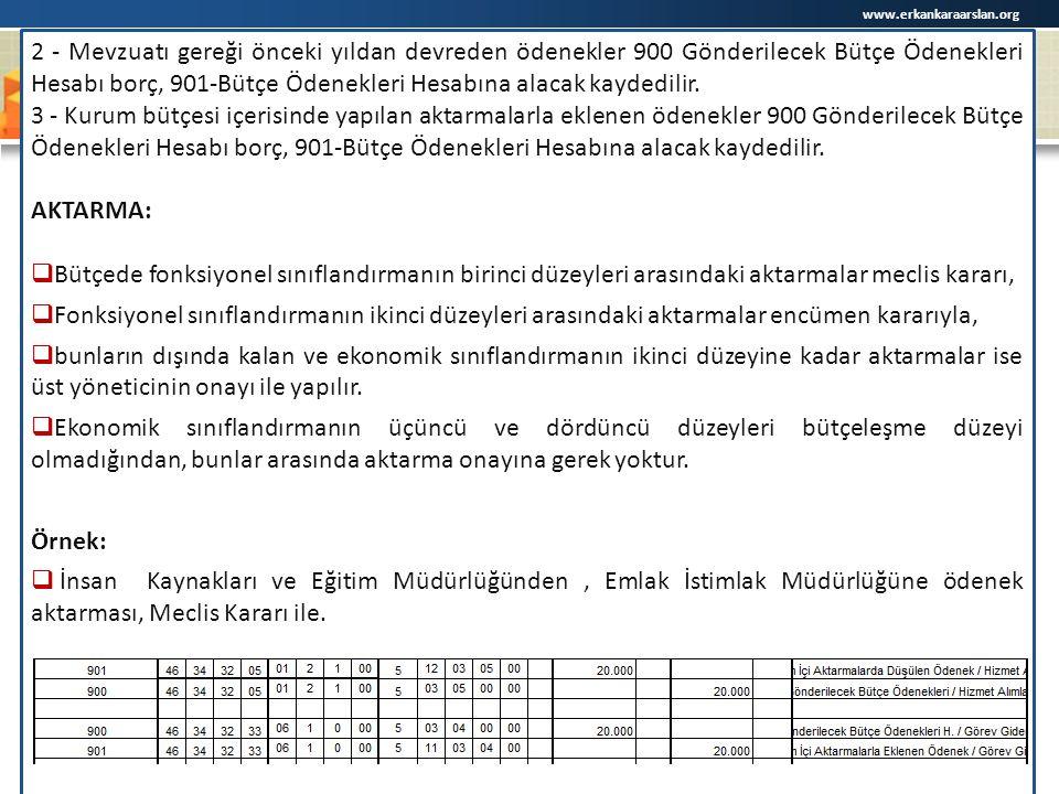 www.erkankaraarslan.org 2 - Mevzuatı gereği önceki yıldan devreden ödenekler 900 Gönderilecek Bütçe Ödenekleri Hesabı borç, 901-Bütçe Ödenekleri Hesabına alacak kaydedilir.