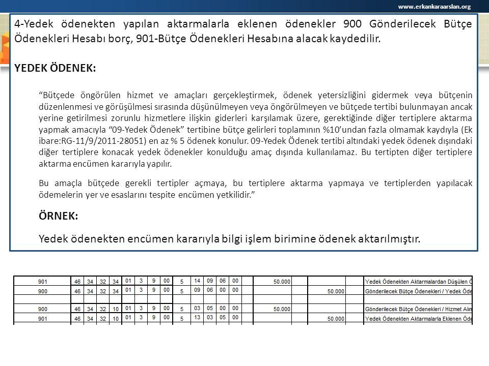www.erkankaraarslan.org 4-Yedek ödenekten yapılan aktarmalarla eklenen ödenekler 900 Gönderilecek Bütçe Ödenekleri Hesabı borç, 901-Bütçe Ödenekleri Hesabına alacak kaydedilir.
