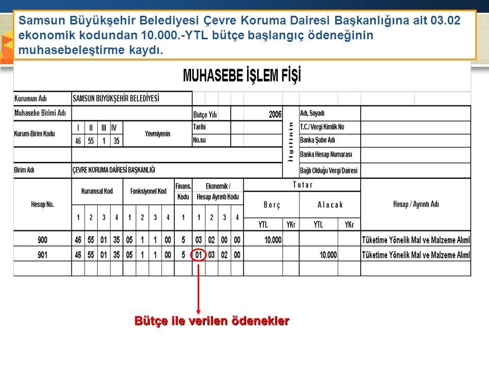 Samsun Büyükşehir Belediyesi Çevre Koruma Dairesi Başkanlığına ait 03.02 ekonomik kodundan 10.000.-YTL bütçe başlangıç ödeneğinin muhasebeleştirme kaydı.