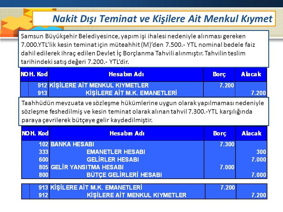 Samsun Büyükşehir Belediyesince, yapım işi ihalesi nedeniyle alınması gereken 7.000.YTL'lik kesin teminat için müteahhit (M)'den 7.500.- YTL nominal bedele faiz dahil edilerek ihraç edilen Devlet İç Borçlanma Tahvili alınmıştır.