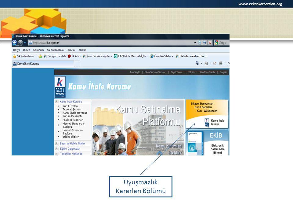 Uyuşmazlık Kararları Bölümü www.erkankaraarslan.org