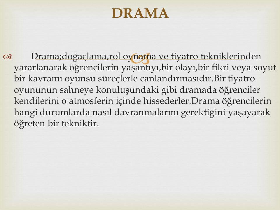   Drama;doğaçlama,rol oynama ve tiyatro tekniklerinden yararlanarak öğrencilerin yaşantıyı,bir olayı,bir fikri veya soyut bir kavramı oyunsu süreçle