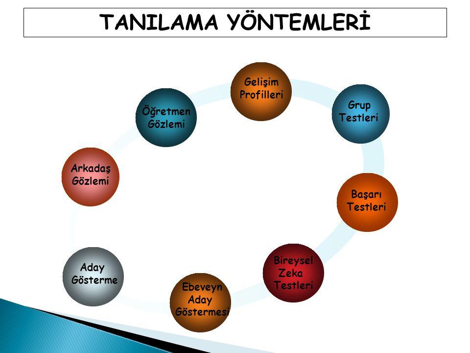 Öğretmen Gözlemi Gelişim Profilleri Grup Testleri Başarı Testleri Bireysel Zeka Testleri Arkadaş Gözlemi Aday Gösterme Ebeveyn Aday Göstermesi TANILAMA YÖNTEMLERİ