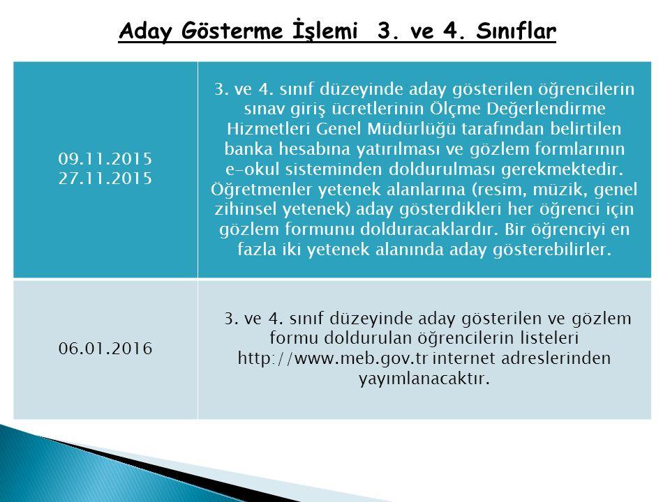 Aday Gösterme İşlemi 3. ve 4. Sınıflar 09.11.2015 27.11.2015 3.
