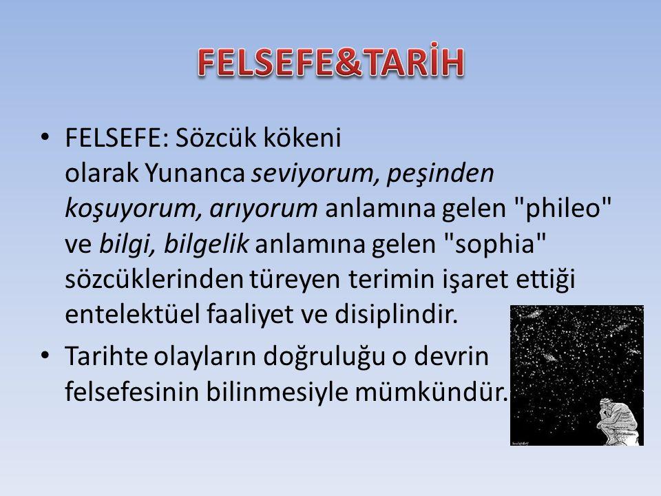 FELSEFE: Sözcük kökeni olarak Yunanca seviyorum, peşinden koşuyorum, arıyorum anlamına gelen