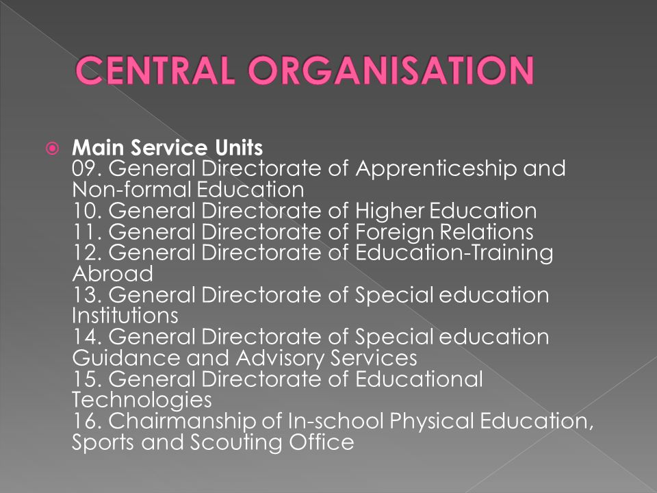  Main Service Units 09. General Directorate of Apprenticeship and Non-formal Education 10.
