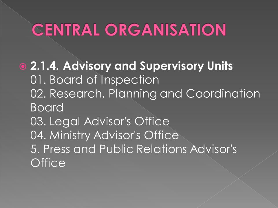  2.1.4. Advisory and Supervisory Units 01. Board of Inspection 02.