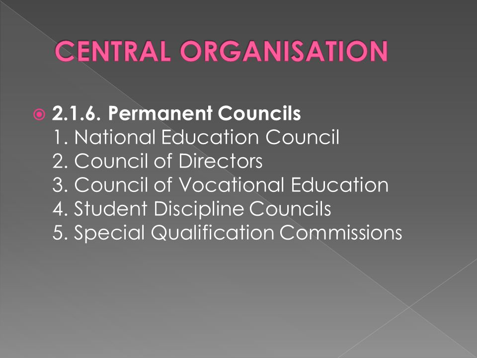  2.1.6. Permanent Councils 1. National Education Council 2.