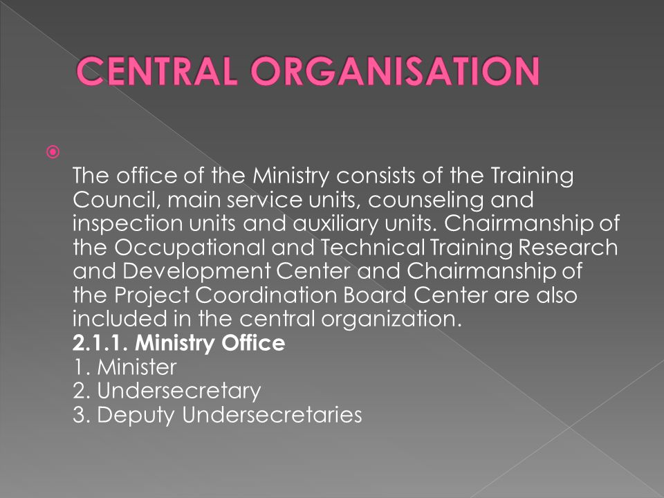  The office of the Ministry consists of the Training Council, main service units, counseling and inspection units and auxiliary units.