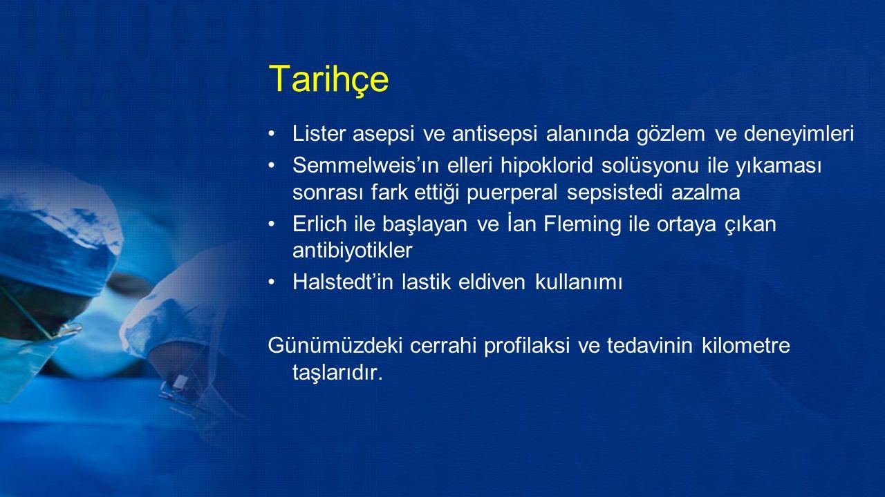 Tarihçe Lister asepsi ve antisepsi alanında gözlem ve deneyimleri Semmelweis'ın elleri hipoklorid solüsyonu ile yıkaması sonrası fark ettiği puerperal sepsistedi azalma Erlich ile başlayan ve İan Fleming ile ortaya çıkan antibiyotikler Halstedt'in lastik eldiven kullanımı Günümüzdeki cerrahi profilaksi ve tedavinin kilometre taşlarıdır.