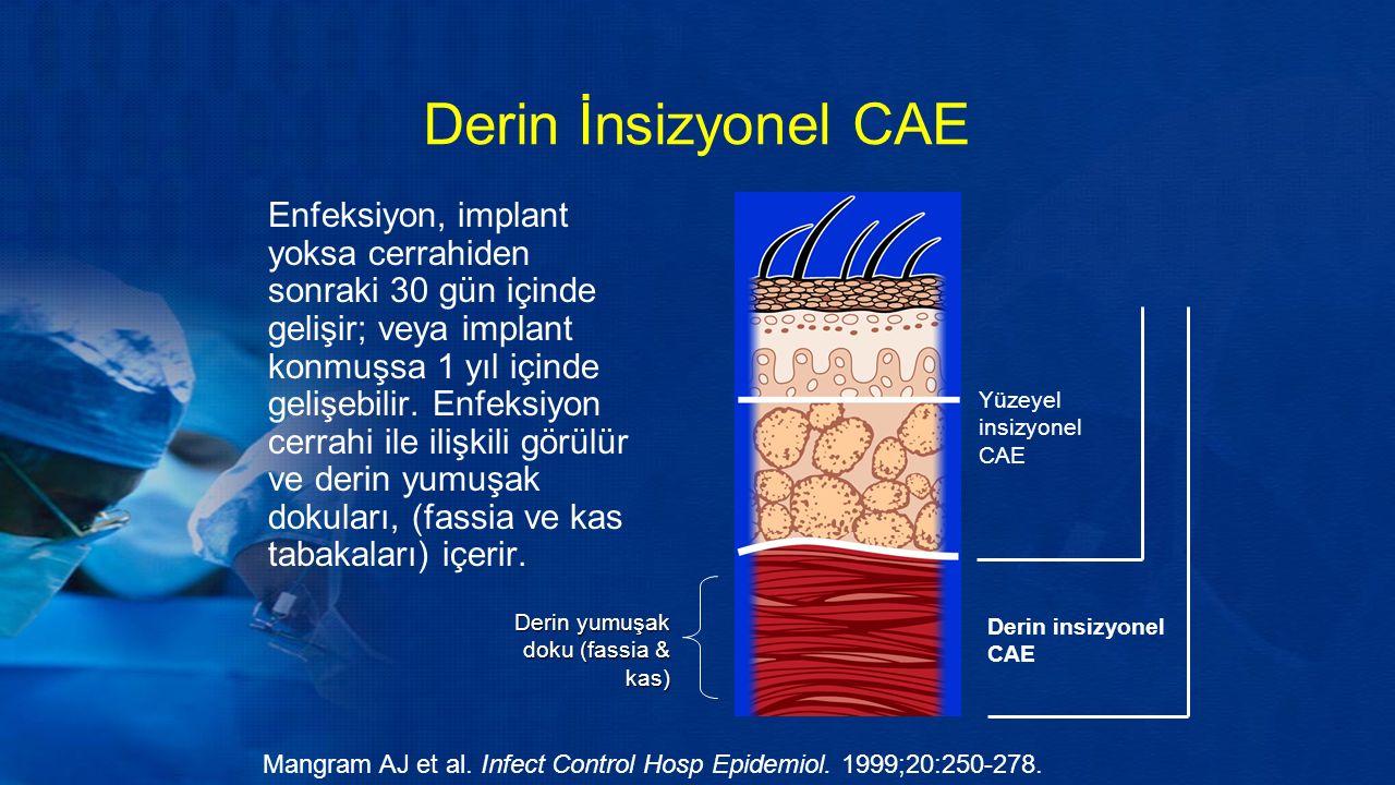 Derin İnsizyonel CAE Enfeksiyon, implant yoksa cerrahiden sonraki 30 gün içinde gelişir; veya implant konmuşsa 1 yıl içinde gelişebilir.