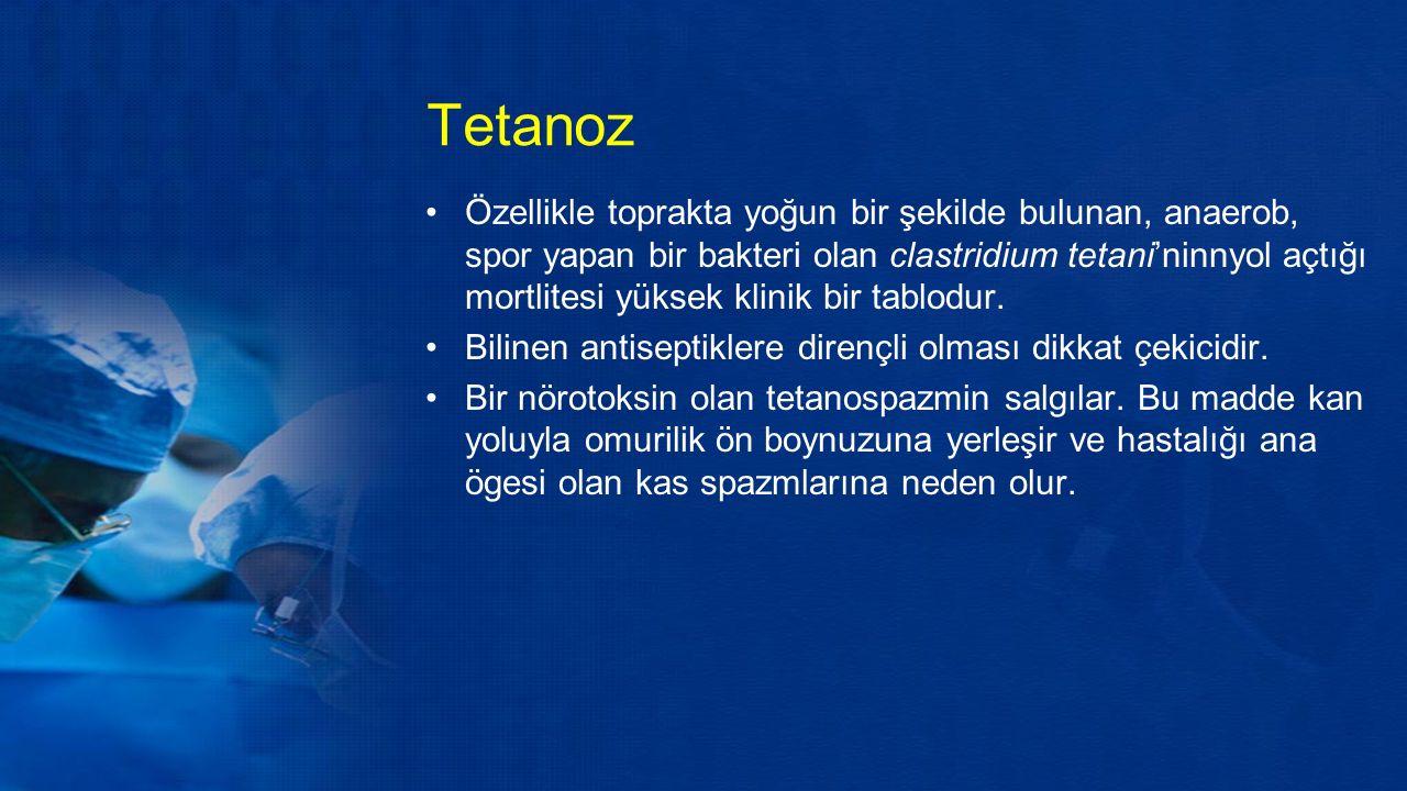 Tetanoz Özellikle toprakta yoğun bir şekilde bulunan, anaerob, spor yapan bir bakteri olan clastridium tetani'ninnyol açtığı mortlitesi yüksek klinik bir tablodur.