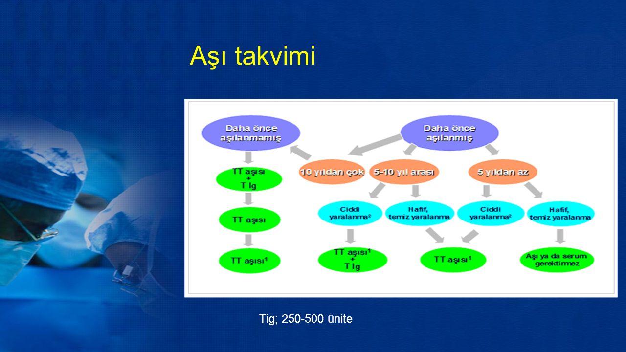 Aşı takvimi Tig; 250-500 ünite