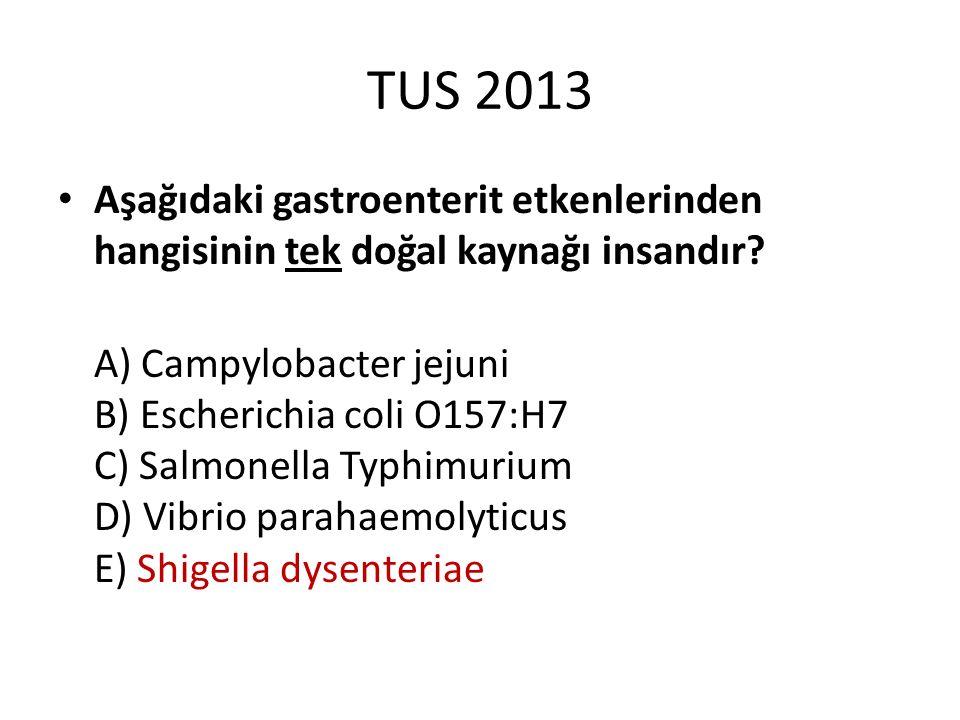 TUS 2013 Aşağıdaki gastroenterit etkenlerinden hangisinin tek doğal kaynağı insandır? A) Campylobacter jejuni B) Escherichia coli O157:H7 C) Salmonell
