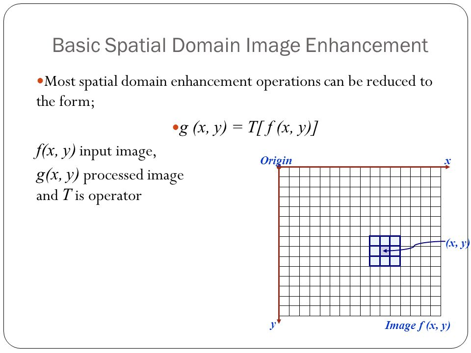 Basic Spatial Domain Image Enhancement Origin x y Image f (x, y) (x, y) Most spatial domain enhancement operations can be reduced to the form; g (x, y) = T[ f (x, y)] f(x, y) input image, g(x, y) processed image and T is operator