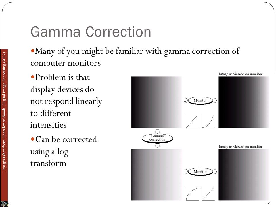 Gamma Correction Many of you might be familiar with gamma correction of computer monitors Problem is that display devices do not respond linearly to different intensities Can be corrected using a log transform Images taken from Gonzalez & Woods, Digital Image Processing (2002)