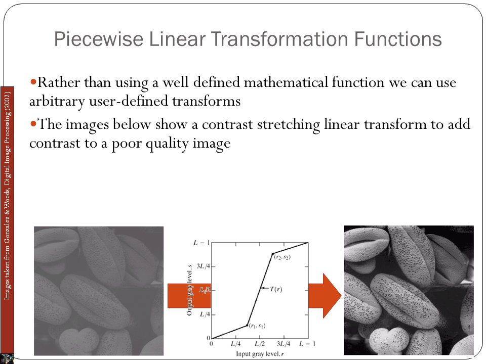 Piecewise Linear Transformation Functions Rather than using a well defined mathematical function we can use arbitrary user-defined transforms The images below show a contrast stretching linear transform to add contrast to a poor quality image Images taken from Gonzalez & Woods, Digital Image Processing (2002)