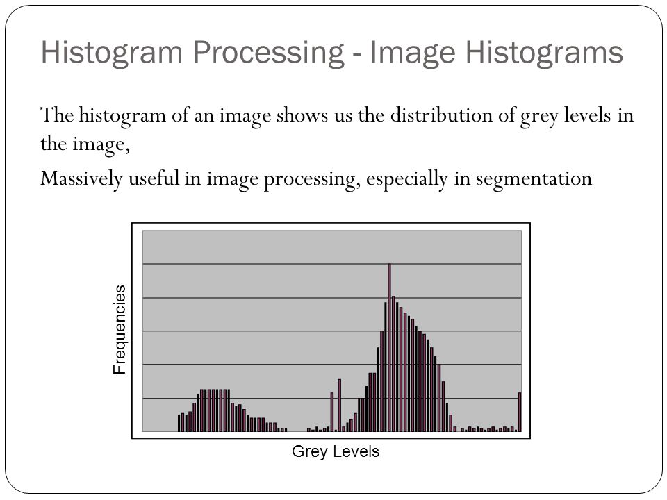 Histogram Processing - Image Histograms The histogram of an image shows us the distribution of grey levels in the image, Massively useful in image processing, especially in segmentation Grey Levels Frequencies