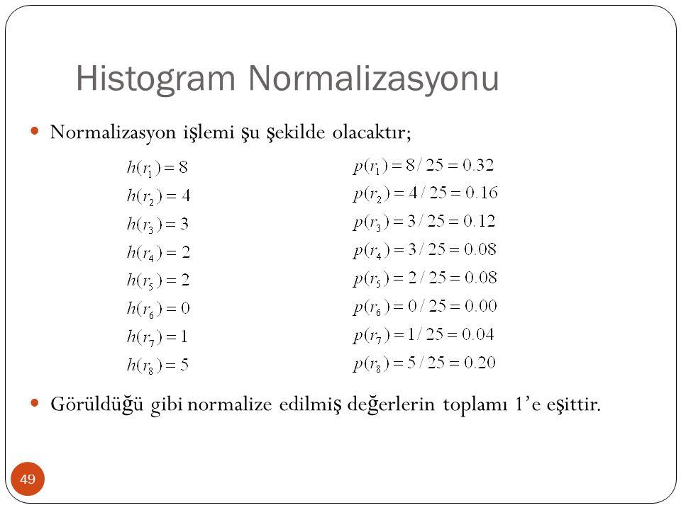 Histogram Normalizasyonu 49 Normalizasyon i ş lemi ş u ş ekilde olacaktır; Görüldü ğ ü gibi normalize edilmi ş de ğ erlerin toplamı 1'e e ş ittir.
