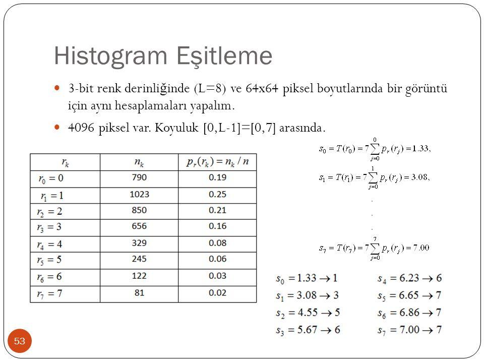 Histogram Eşitleme 53 3-bit renk derinli ğ inde (L=8) ve 64x64 piksel boyutlarında bir görüntü için aynı hesaplamaları yapalım.