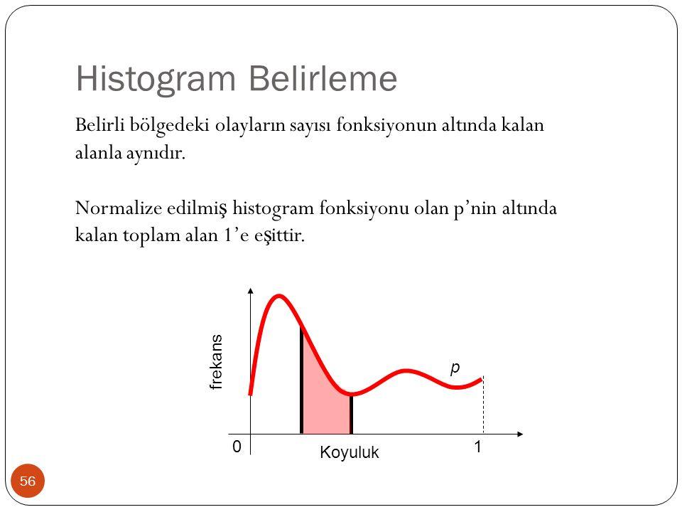 Histogram Belirleme 56 Belirli bölgedeki olayların sayısı fonksiyonun altında kalan alanla aynıdır.