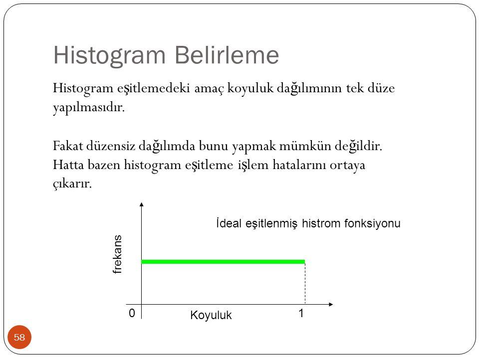 Histogram Belirleme 58 Histogram e ş itlemedeki amaç koyuluk da ğ ılımının tek düze yapılmasıdır.
