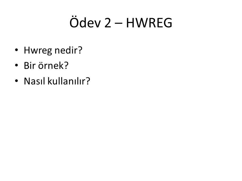 Ödev 2 – HWREG Hwreg nedir? Bir örnek? Nasıl kullanılır?
