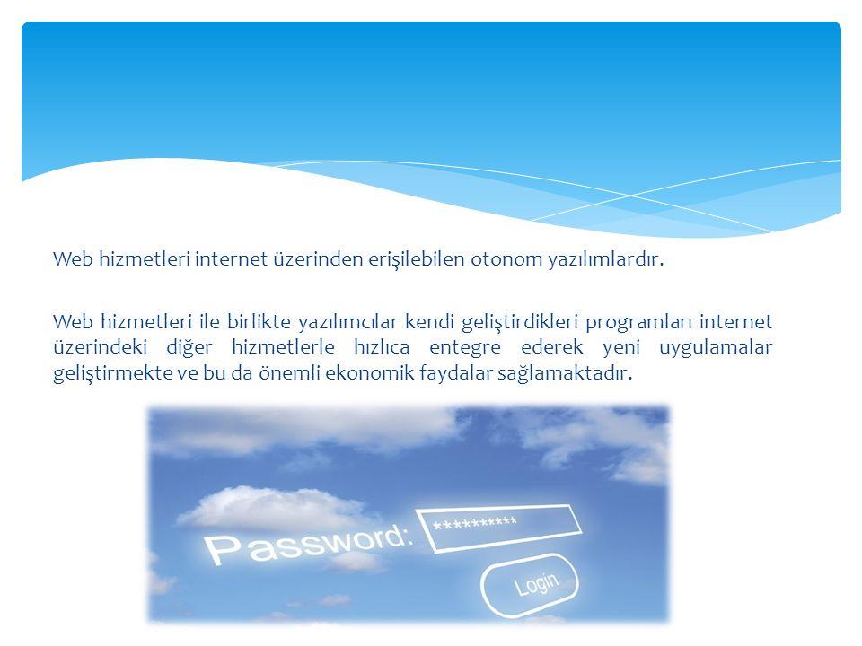 Web hizmetleri internet üzerinden erişilebilen otonom yazılımlardır. Web hizmetleri ile birlikte yazılımcılar kendi geliştirdikleri programları intern