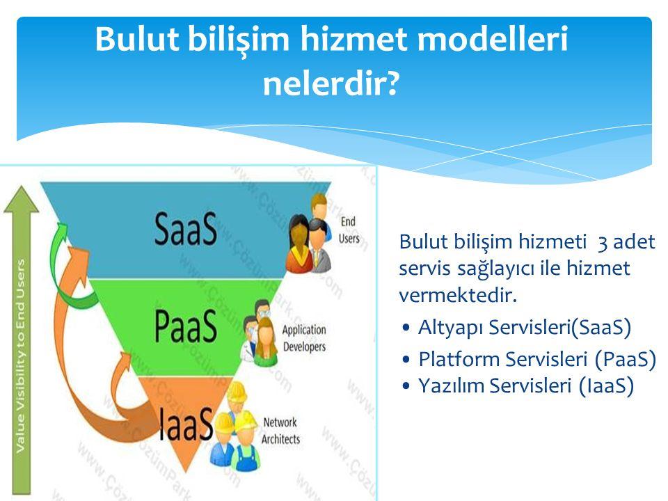 Bulut bilişim hizmeti 3 adet servis sağlayıcı ile hizmet vermektedir. Altyapı Servisleri(SaaS) Platform Servisleri (PaaS) Yazılım Servisleri (IaaS) Bu