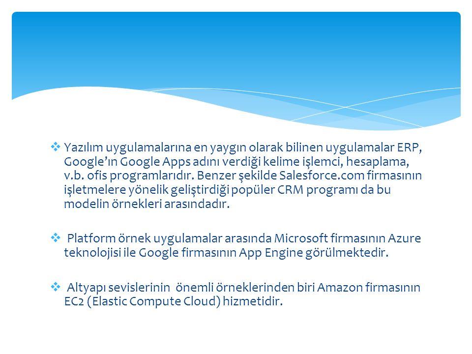  Yazılım uygulamalarına en yaygın olarak bilinen uygulamalar ERP, Google'ın Google Apps adını verdiği kelime işlemci, hesaplama, v.b. ofis programlar