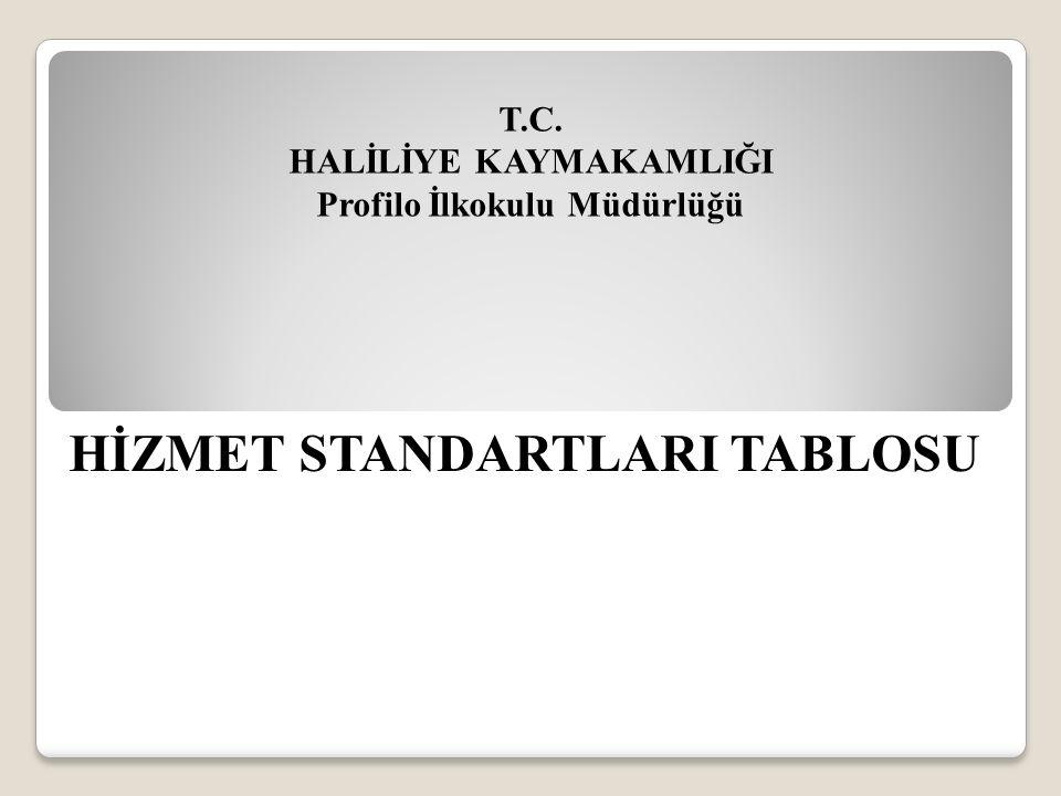 T.C. HALİLİYE KAYMAKAMLIĞI Profilo İlkokulu Müdürlüğü HİZMET STANDARTLARI TABLOSU