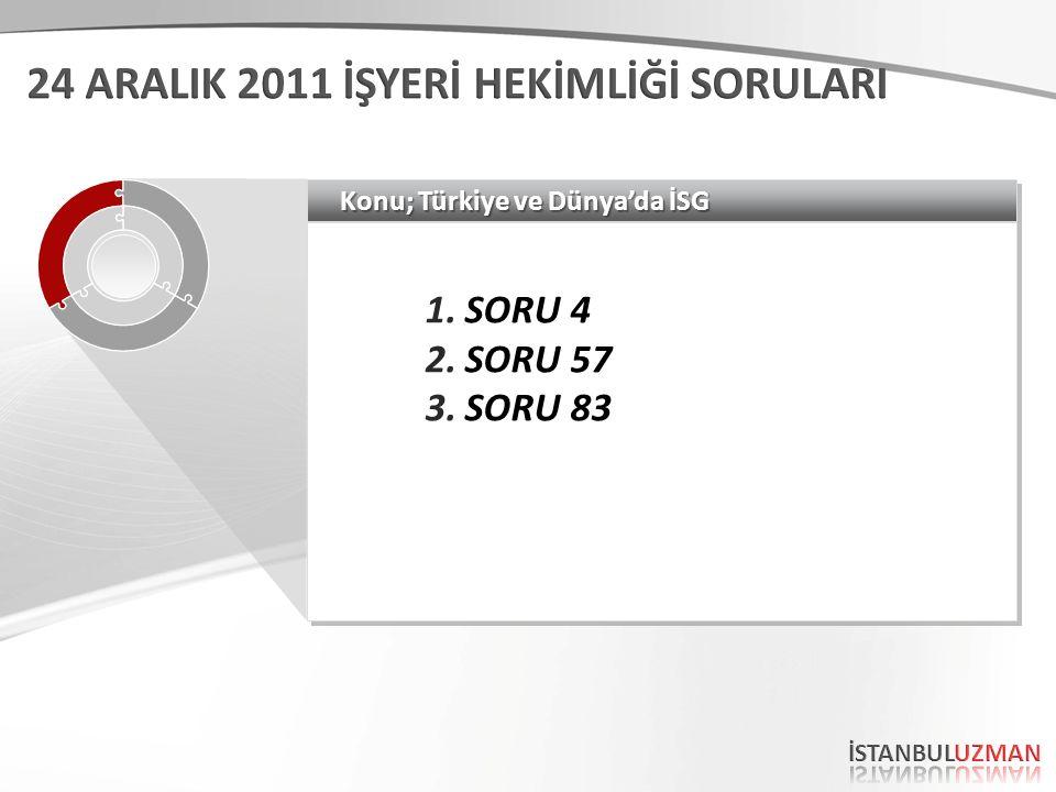 Konu; Türkiye ve Dünya'da İSG 1.SORU 4 2.SORU 57 3.SORU 83 1.SORU 4 2.SORU 57 3.SORU 83