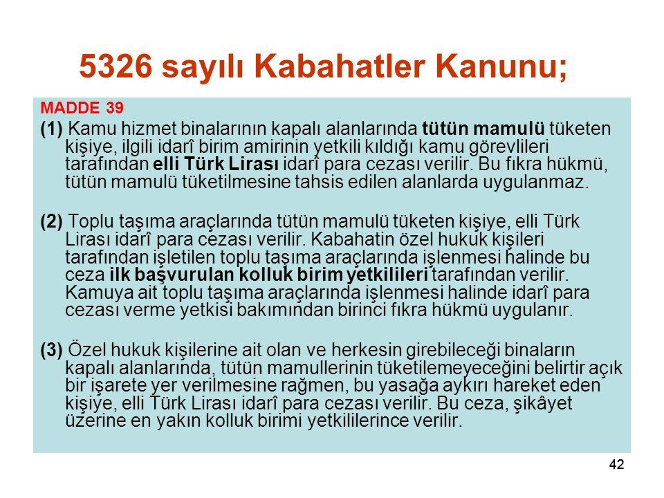 42 MADDE 39 (1) Kamu hizmet binalarının kapalı alanlarında tütün mamulü tüketen kişiye, ilgili idarî birim amirinin yetkili kıldığı kamu görevlileri tarafından elli Türk Lirası idarî para cezası verilir.