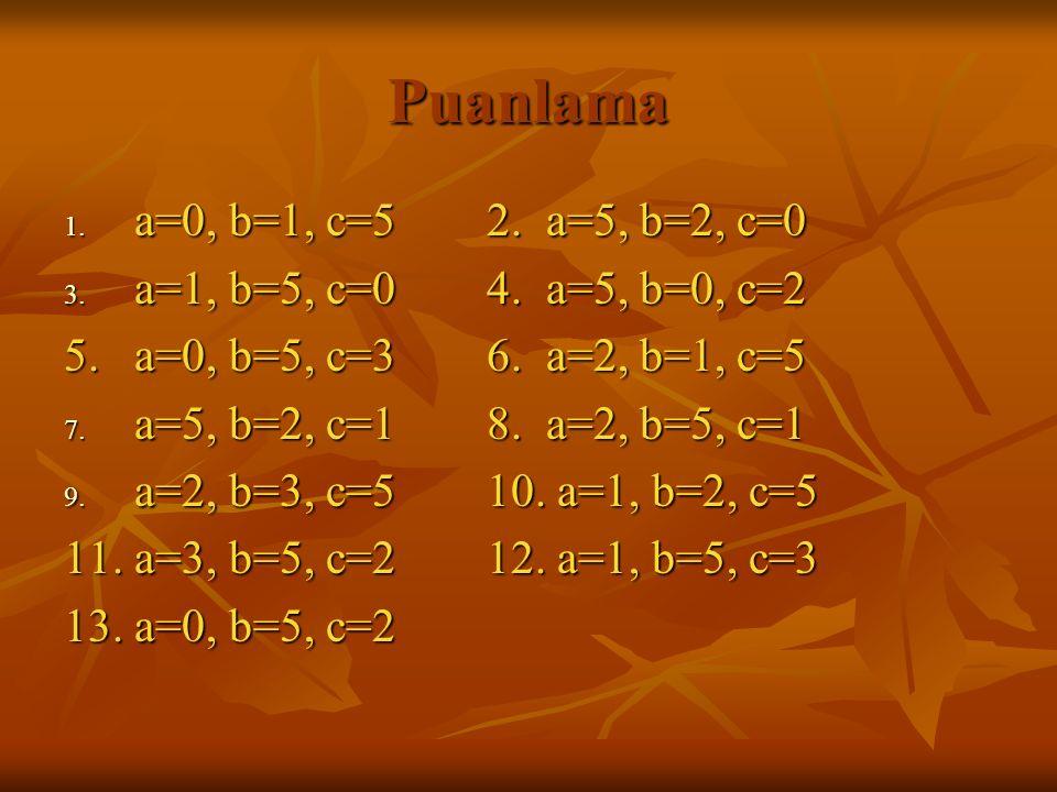 Puanlama 1.a=0, b=1, c=52. a=5, b=2, c=0 3. a=1, b=5, c=04.