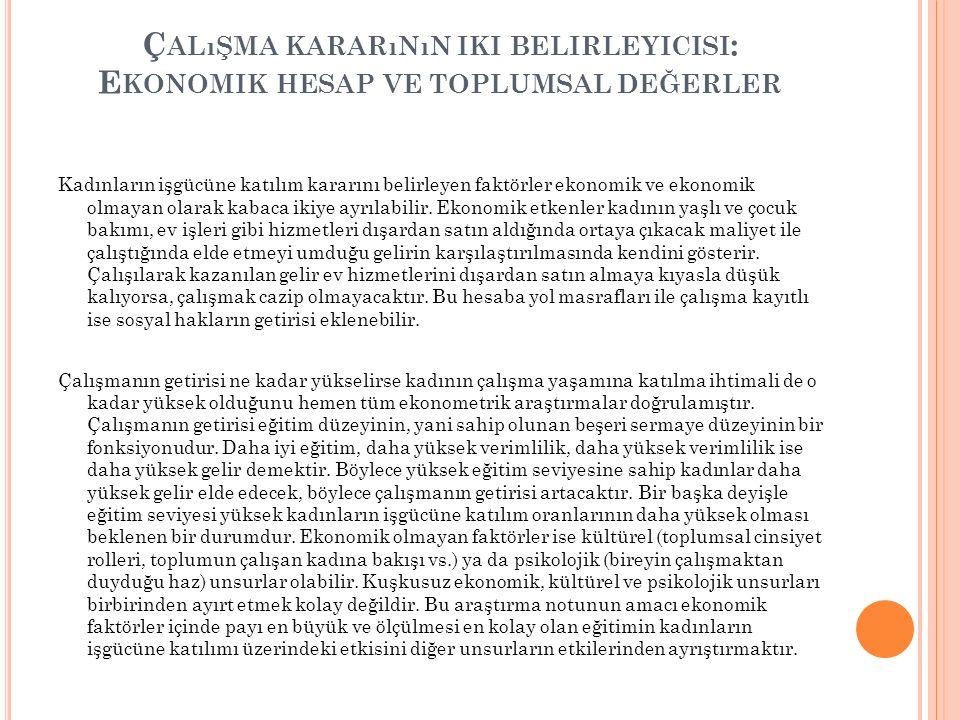 4.K ADıN İ STIHDAMıNı A RTTıRMAYA Y ÖNELIK Y ASAL D ÜZENLEMELERIN Y ETERSIZLIĞI Türkiye AB'ne uyum sürecinde cinsiyete dayalı ayrımcılığı ortadan kaldırmak için kadınlar lehine çeşitli hukuki düzenlemeler yapmıştır.