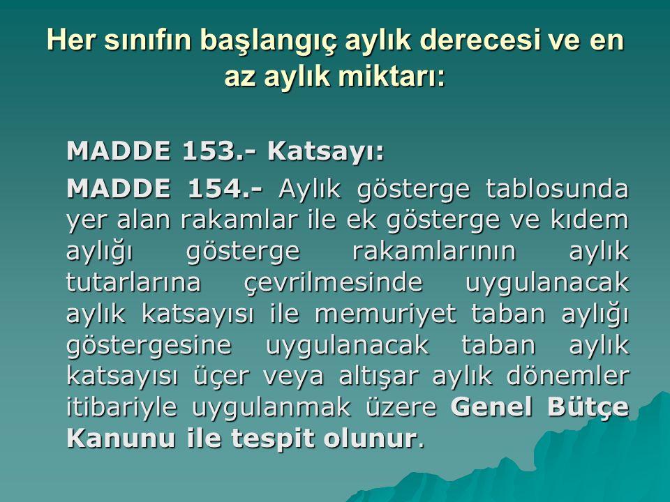 Her sınıfın başlangıç aylık derecesi ve en az aylık miktarı: MADDE 153.- Katsayı: MADDE 154.- Aylık gösterge tablosunda yer alan rakamlar ile ek göste