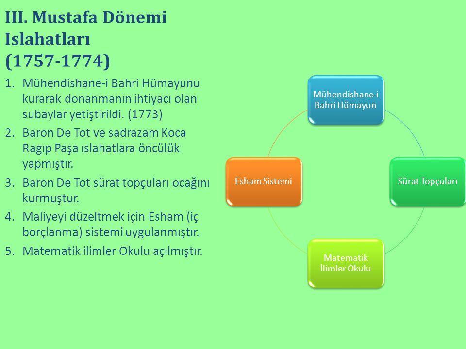 III. Mustafa Dönemi Islahatları (1757-1774) Mühendishane-i Bahri Hümayun Sürat Topçuları Matematik İlimler Okulu Esham Sistemi 1.Mühendishane-i Bahri