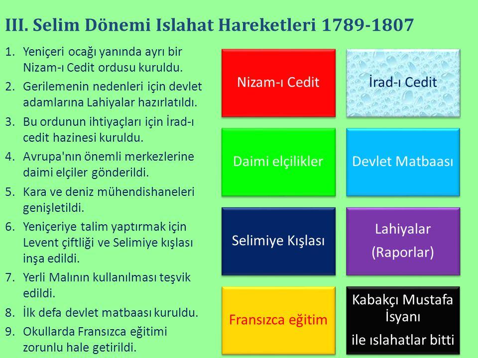 III. Selim Dönemi Islahat Hareketleri 1789-1807 Nizam-ı Ceditİrad-ı Cedit Daimi elçiliklerDevlet Matbaası Selimiye Kışlası Lahiyalar (Raporlar) Fransı