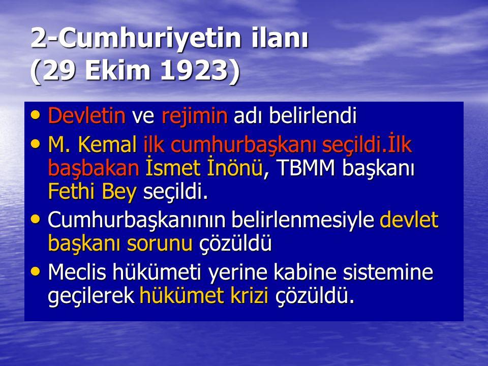 2-Cumhuriyetin ilanı (29 Ekim 1923) Devletin ve rejimin adı belirlendi Devletin ve rejimin adı belirlendi M.