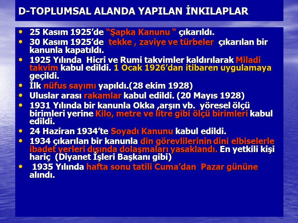 """D-TOPLUMSAL ALANDA YAPILAN İNKILAPLAR 25 Kasım 1925'de """"Şapka Kanunu """" çıkarıldı. 25 Kasım 1925'de """"Şapka Kanunu """" çıkarıldı. 30 Kasım 1925'de tekke,"""
