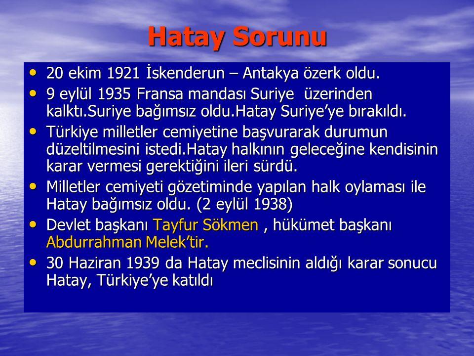 Hatay Sorunu 20 ekim 1921 İskenderun – Antakya özerk oldu.