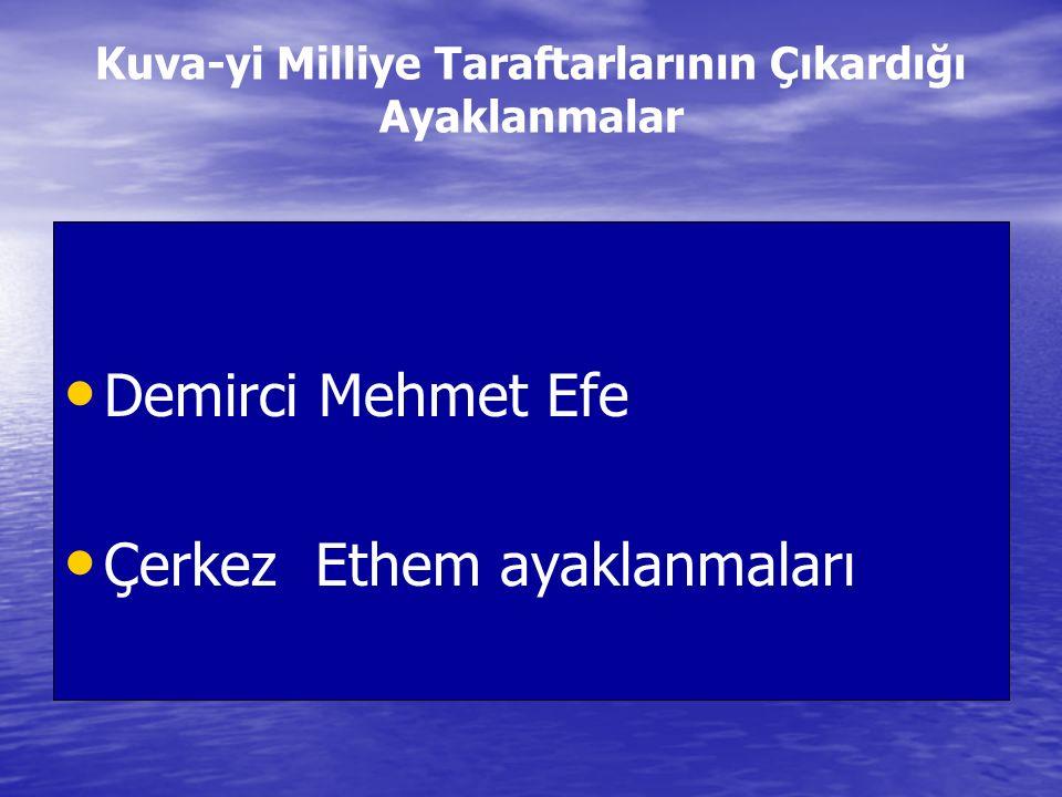 Kuva-yi Milliye Taraftarlarının Çıkardığı Ayaklanmalar Demirci Mehmet Efe Çerkez Ethem ayaklanmaları