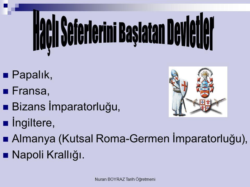 Nuran BOYRAZ Tarih Öğretmeni Sosyal Nedenler Türklerin ilerleyişi karşısında Bizans'ın Avrupa'dan yardım istemesi, Feodal Lordlar'ın doğuda da aynı dü