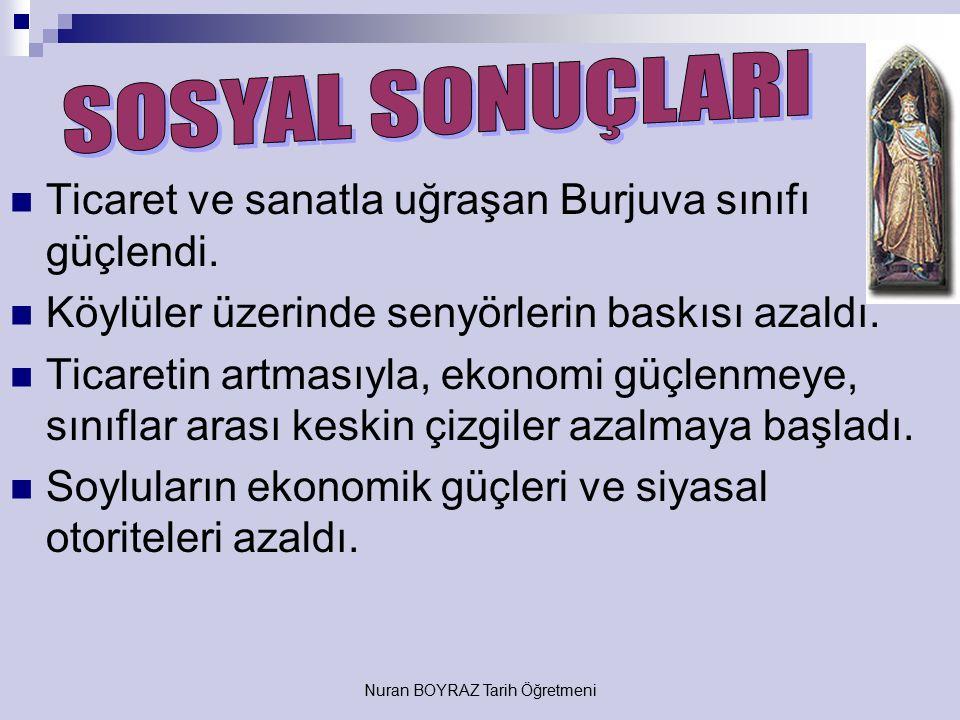 Nuran BOYRAZ Tarih Öğretmeni Anadolu'nun Türk yurdu olması kesinleşti. Feodalite rejimi yıkılmaya başladı (zayıfladı). Barutlu silahların kullanılması