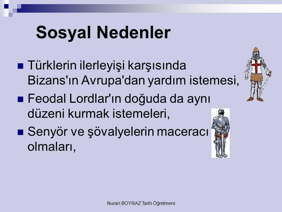 Nuran BOYRAZ Tarih Öğretmeni Siyasi Nedenler 1071 Malazgirt Savaşı'ndan sonra Türklerin kısa zamanda Anadolu'da ilerlemeleri, Türklerin ilerleyişi kar