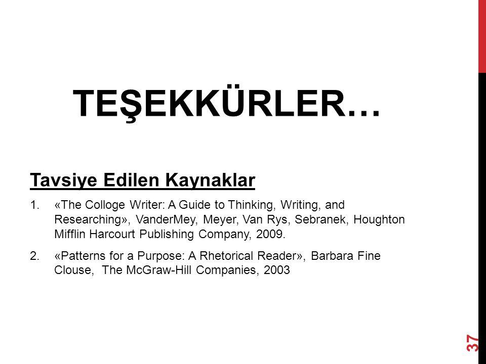 TEŞEKKÜRLER… Tavsiye Edilen Kaynaklar 1.«The Colloge Writer: A Guide to Thinking, Writing, and Researching», VanderMey, Meyer, Van Rys, Sebranek, Houg