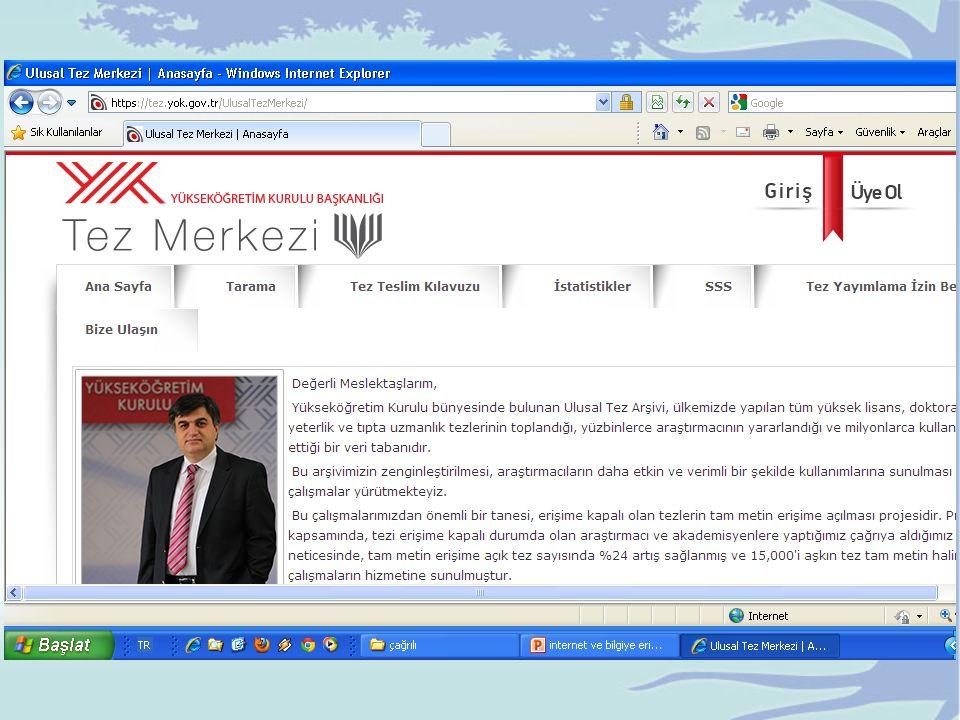 http://scholar.google.com.tr/ Akademik web tarama