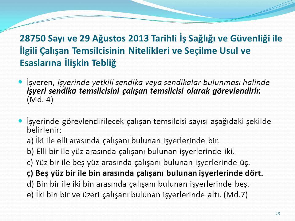 28750 Sayı ve 29 Ağustos 2013 Tarihli İş Sağlığı ve Güvenliği ile İlgili Çalışan Temsilcisinin Nitelikleri ve Seçilme Usul ve Esaslarına İlişkin Tebli